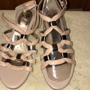 Sofft Women's Ivory Cream Leather Wedge Sandals